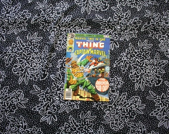 Marvel Two In One #45. The Thing And Captain Marvel Vintage 1970s Bronze Age Comic Book. Rare Fantastic Four Two In One
