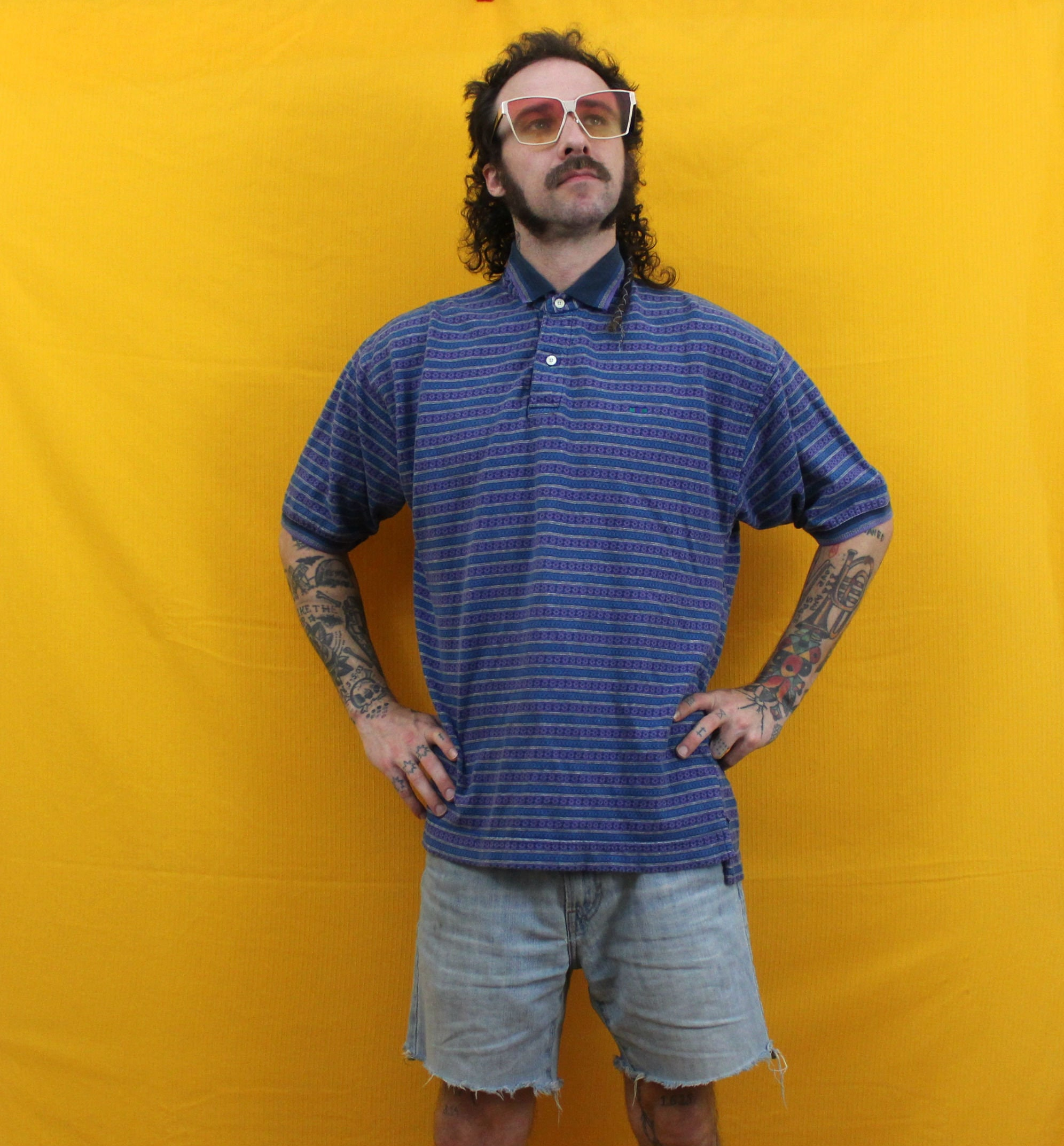 Mens 90s Preppy Abstract Polo Shirt Short Sleeve Purple And Etsy