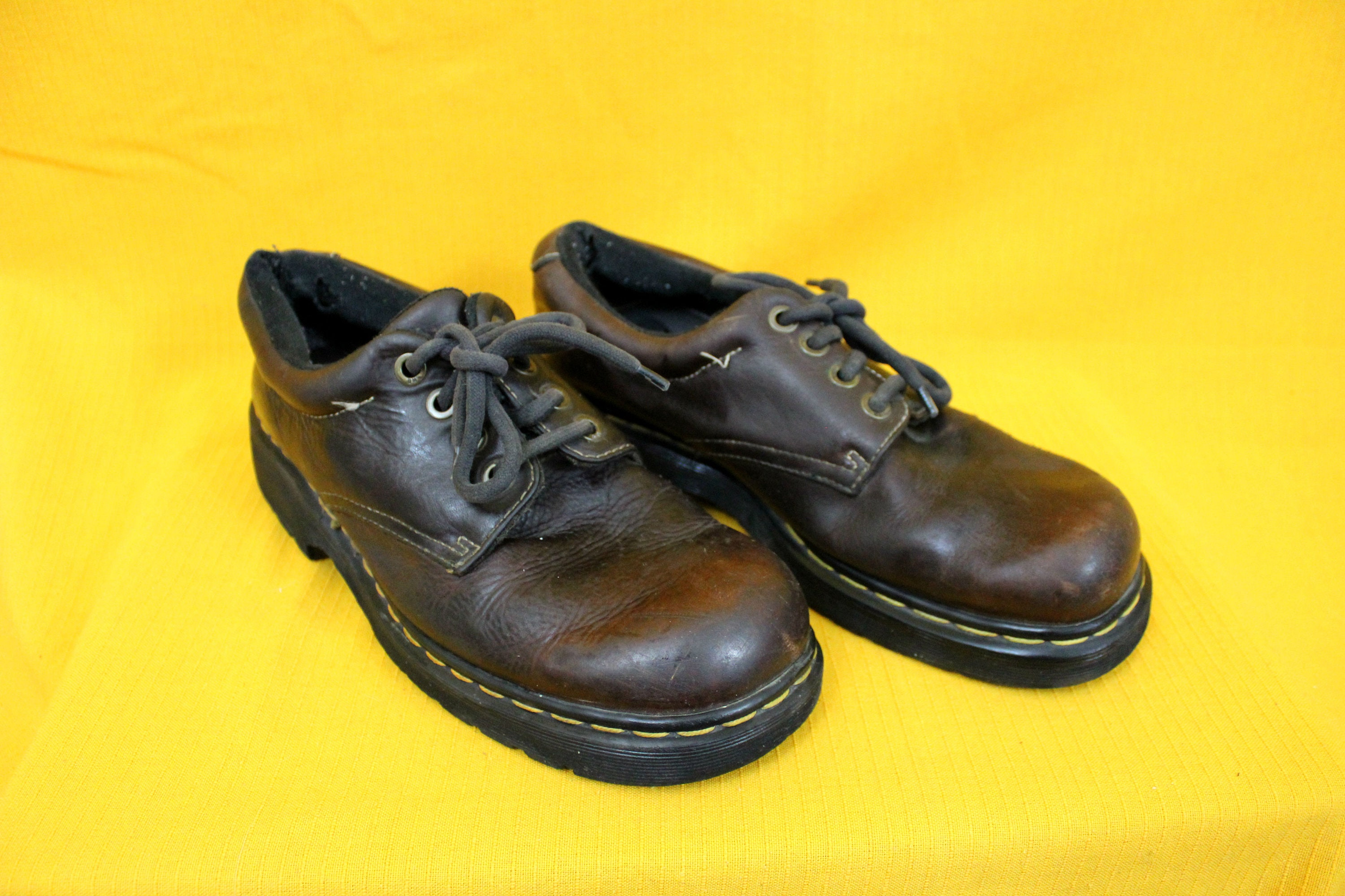 4a8fc2e0e29 Doc Marten Boots. US Mens Size 9 Black Leather Low Top Classic Dr Marten  Low Top Boots. 4 Eyelet Steel Toe Brown Leather Punk Ska Shoes