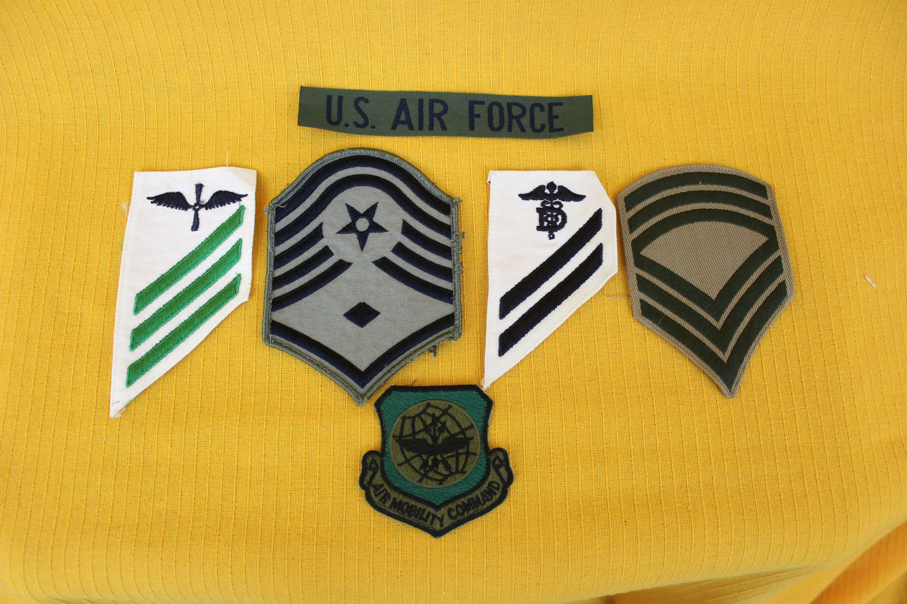 6 Vintage Military Embroidered Patches  Army, Air Force