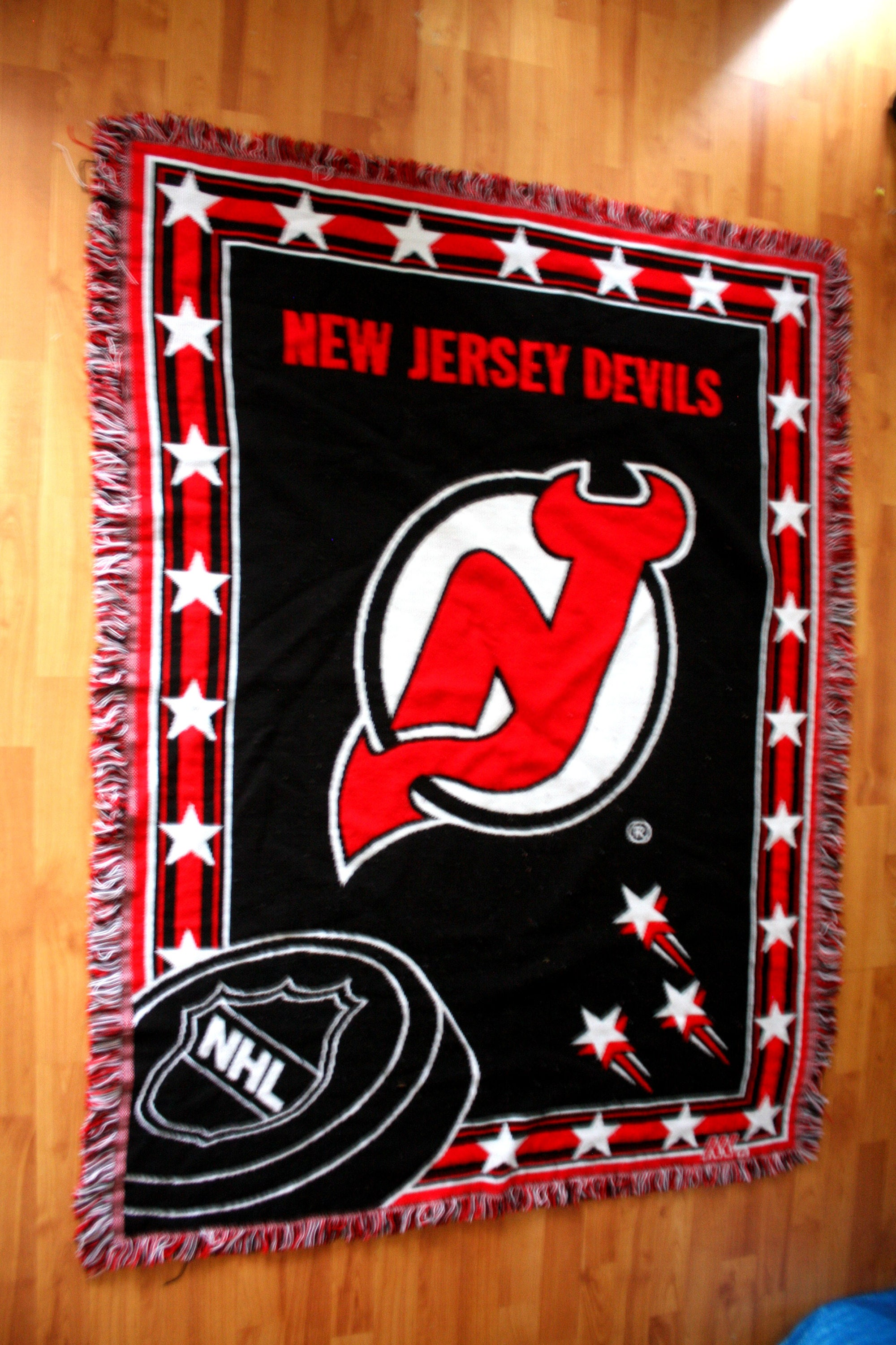 bb2f9369c Vintage new jersey devils throw blanket retro devils hockey cave hockey  sports lover blanket home decor