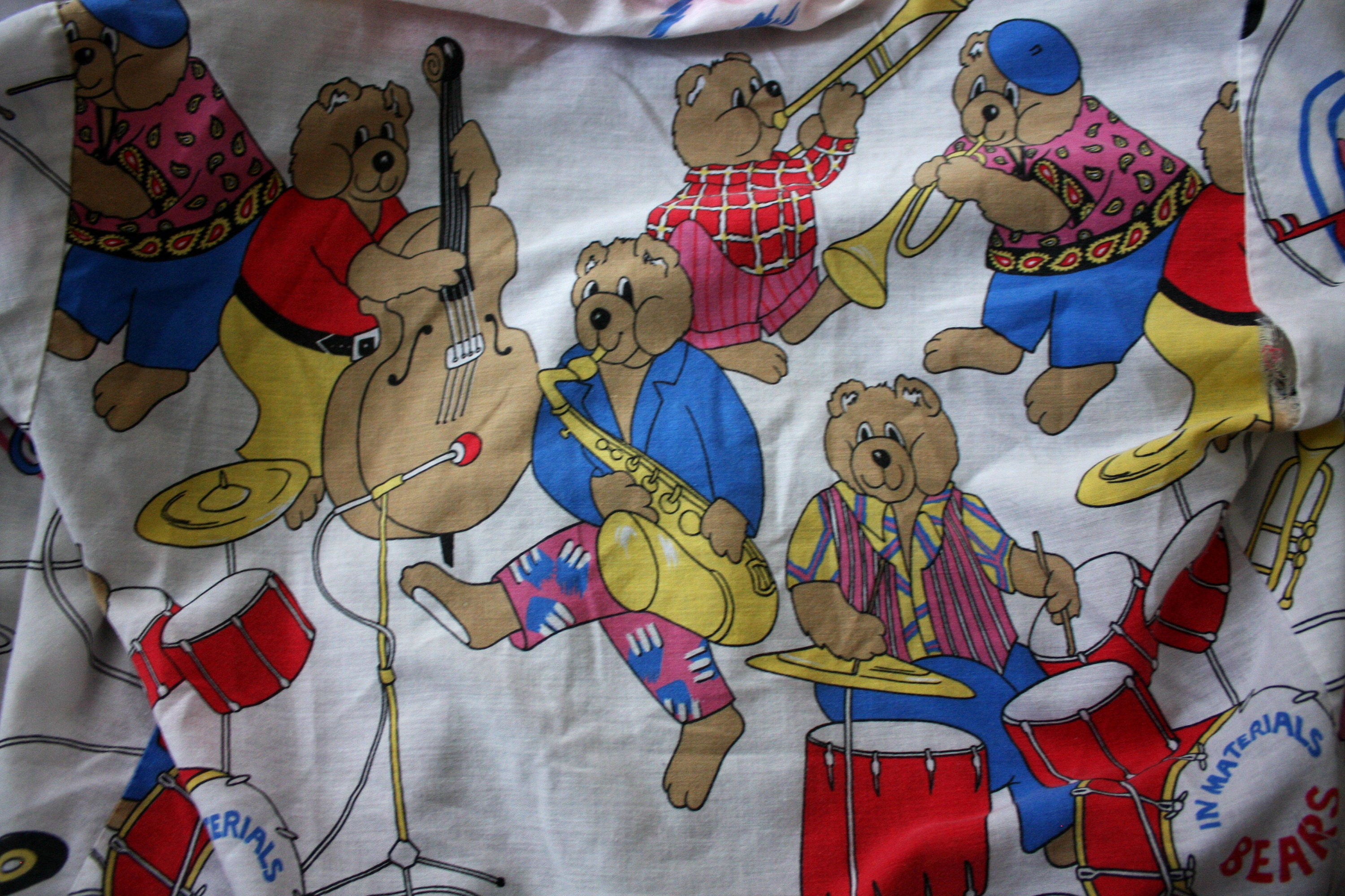 22f99f77bcf Cute Kitschy Womens Top. Rare Teddy Bear Band T Shirt. Retro Funky Womens  All Over Print Shirt. Adorable White 80s Pop Style Womens Shirt