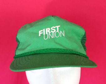 Vintage 80s Trucker Cap. First Union Bank Vintage 80s Hat. Green First Union Bank Trucker Cap. Corporate Advertising Hat. Hipster 80s Cap