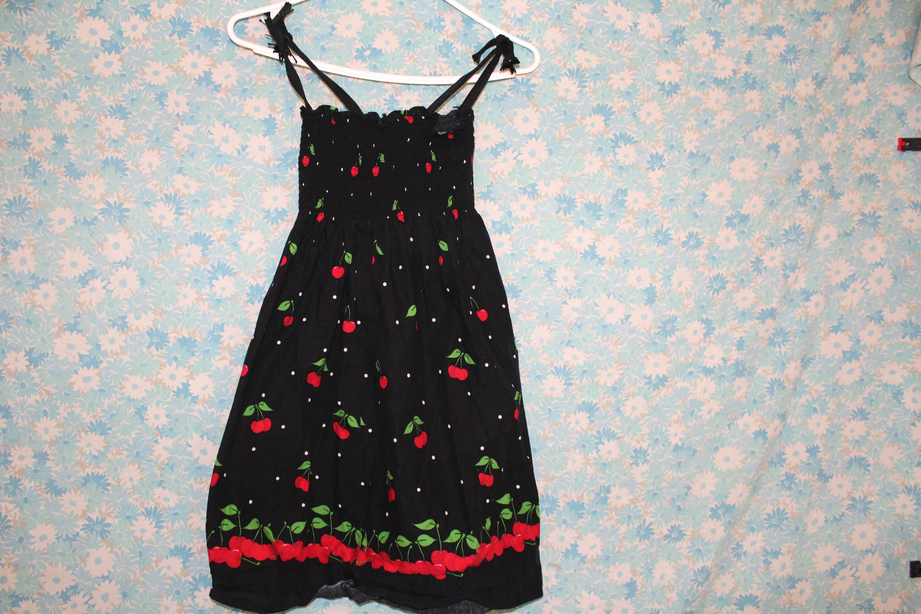 cc32040756 90s Handmade Stretchy Cherry Print Short Summer Dress. Hand Sewn ...