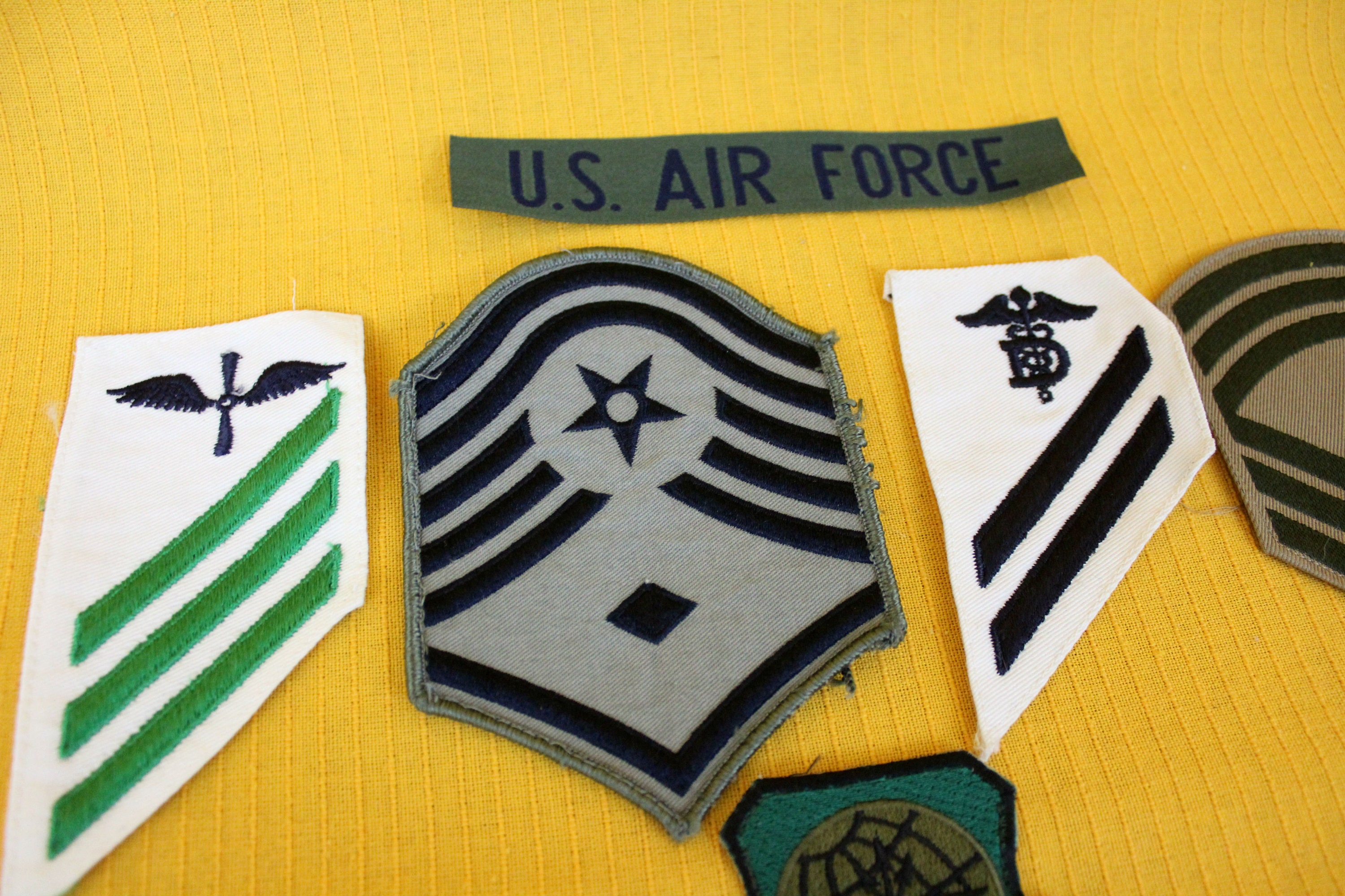 6 Vintage Military Embroidered Patches  Army, Air Force, Navy