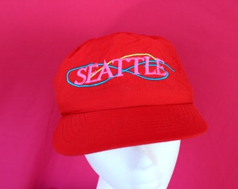 Vintage Seattle Souvenir Baseball Cap. Souvenir Seattle Dad Hat. 90s Bright Red Seattle Washington Hat. Soft Nylon Mac Demarco Style Hat