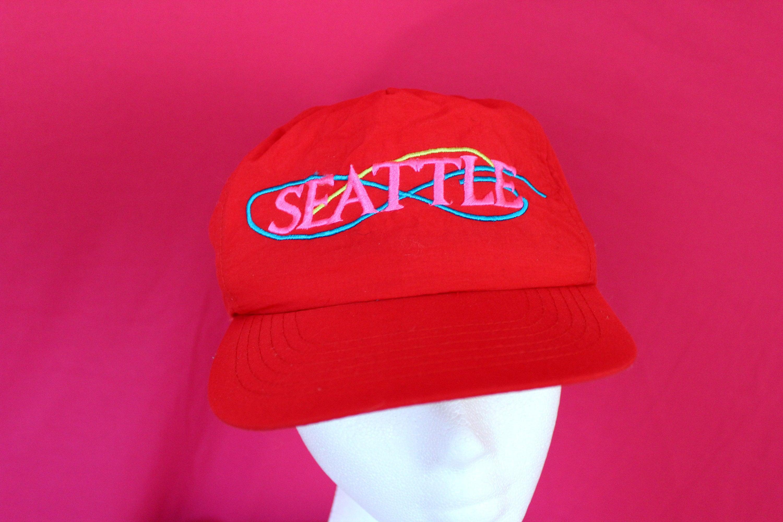 Vintage Seattle Souvenir Baseball Cap. Souvenir Seattle Dad Hat. 90s Bright  Red Seattle Washington Hat. Soft Nylon Mac Demarco Style Hat b053bccb24f