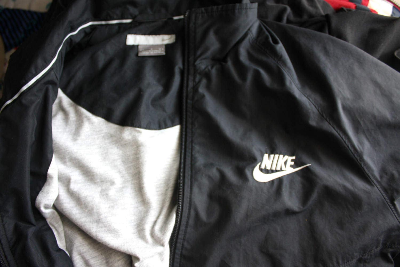 b60d863da6 90s Nike Windbreaker. Black Minimalist Zip Up Nylon Long Jacket ...