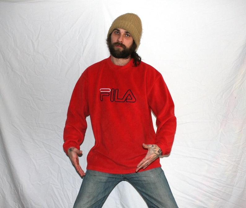 Vintage Fila Red Fleece Sweatshirt  Pullover 90s Hip Hop Shoe Brand  Clothing  Rare Embroidered Fila 90s Collectible Red Fleece Sweatshirt
