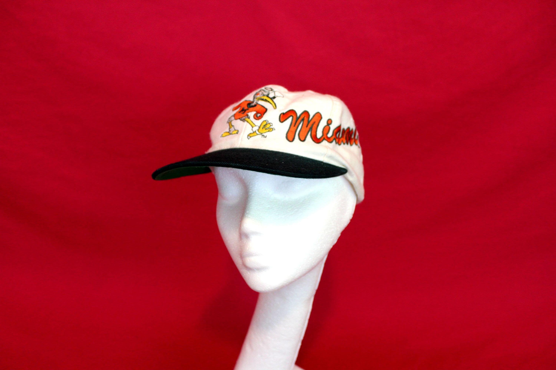 innovative design efa6f f53db ... discount miami hurricanes vintage baseball cap. university of miami  hurricanes green and orange embroidered retro