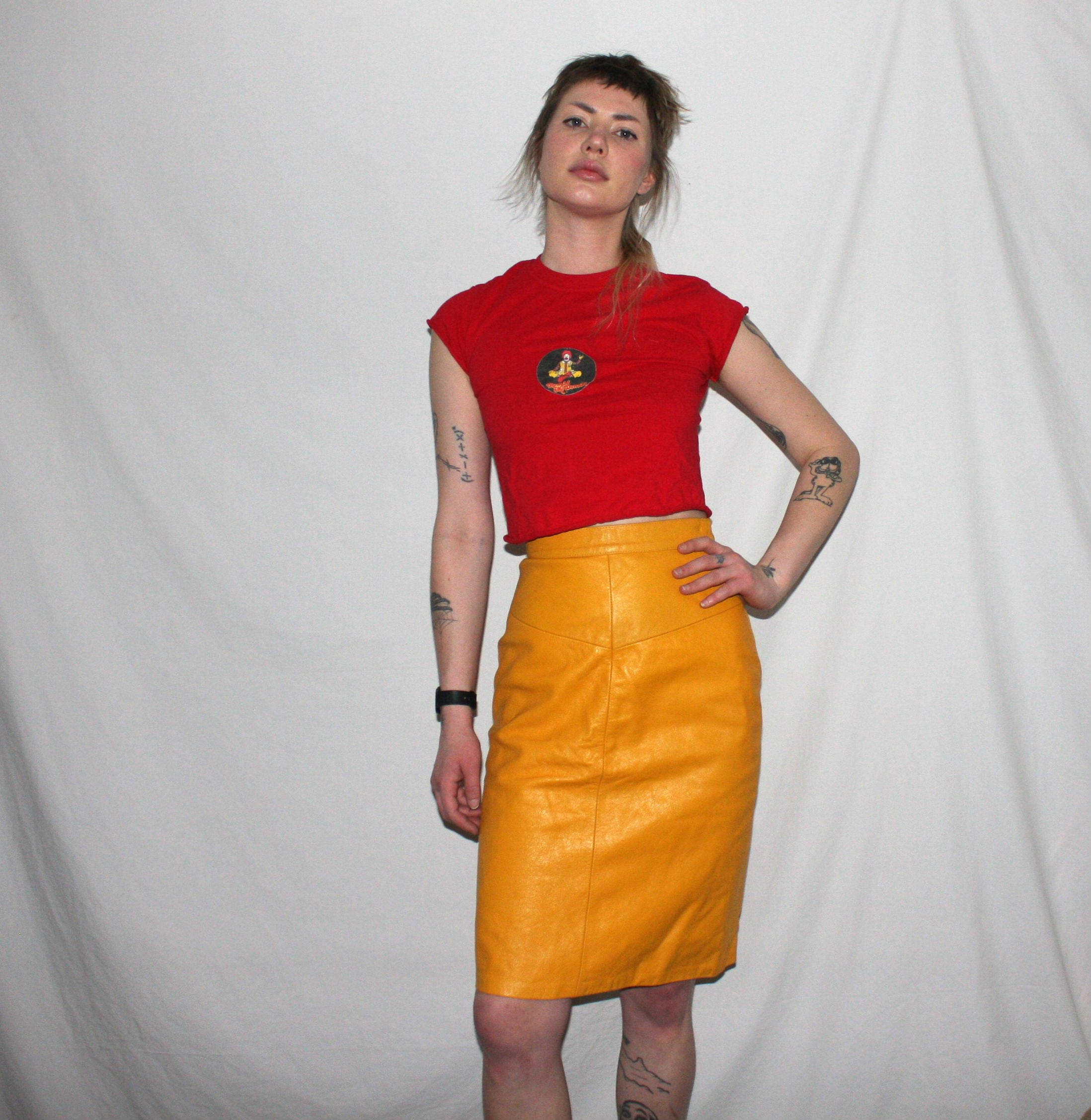 Vintage 80s Yellow Leather Skirt Bright Mustard Yellow Retro Midi