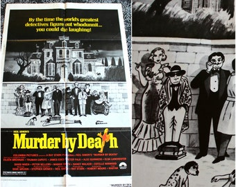 Murder By Death One Sheet Movie Poster. Vintage One Sheet 70s Movie Poster. Truman Capote Movie Poster. Hollywood Movie Memorabilia.