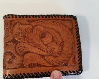 310c726f1685c3 Vintage Wallet Artisan Made Hand Tooled Brown Leather Black Pebble Leather  Interior Lacing 70's Billfold Card Section Folding Money NOS