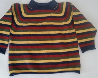 b16bbb591 Vintage Children's Sweater 100% Cotton Striped Pullover Mock Turtleneck  Unisex Sweater 1990's Kid's Sweater Made By Lands End Size 6
