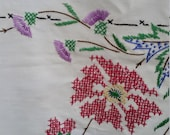 Vintage Tablecloth Hand Embroidered 100 Cotton Floral Print Red Blue Green Square Table Linen 1950 39 s Kitchen Decor Farmhouse Kitchen Linens