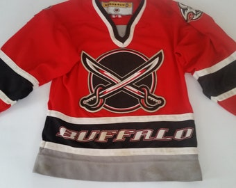 Vintage Buffalo Sabres Youth Hocky Jersey Size S M Made In Canada 65953f13d