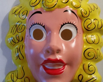 vintage plastic mask 1970s blondie molded plastic halloween mask nos cartoon character blondie and dagwood collectible