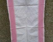 Vintage Tea Towel Extra Long 100 Linen Towel Dresser Scarf Runner 15.5 quot x38 quot Cream Background With Pink Stripes Shabby Chic 1950s Home Decor