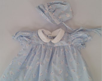 2cdcf3c8ff8 Vintage Baby Girl s Dress Size 12 Months 90 s Classic Style Dress With  Bonnett Cotton Blend Sheep Print Baby Girl s Frock Made By Nannete