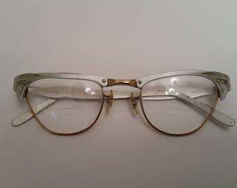 bea7ffd0fac8 1950s Cat Eye Glasses Vintage 1950s Eyeglasses with Aluminum Frames Leaf  Pattern 'Victory' Model