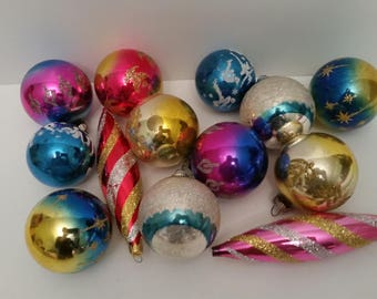 vintage christmas bulbs 1950s blown glass christmas tree ornaments lot of 13 bulbs colorful glitter sparkly christmas tree decor shiny brite - Glass Christmas Bulbs For Decorating