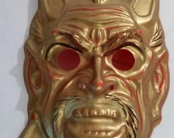 vintage halloween mask golden devil molded plastic mask nos made in usa 1970s halloween costume golden devil mask halloween decor
