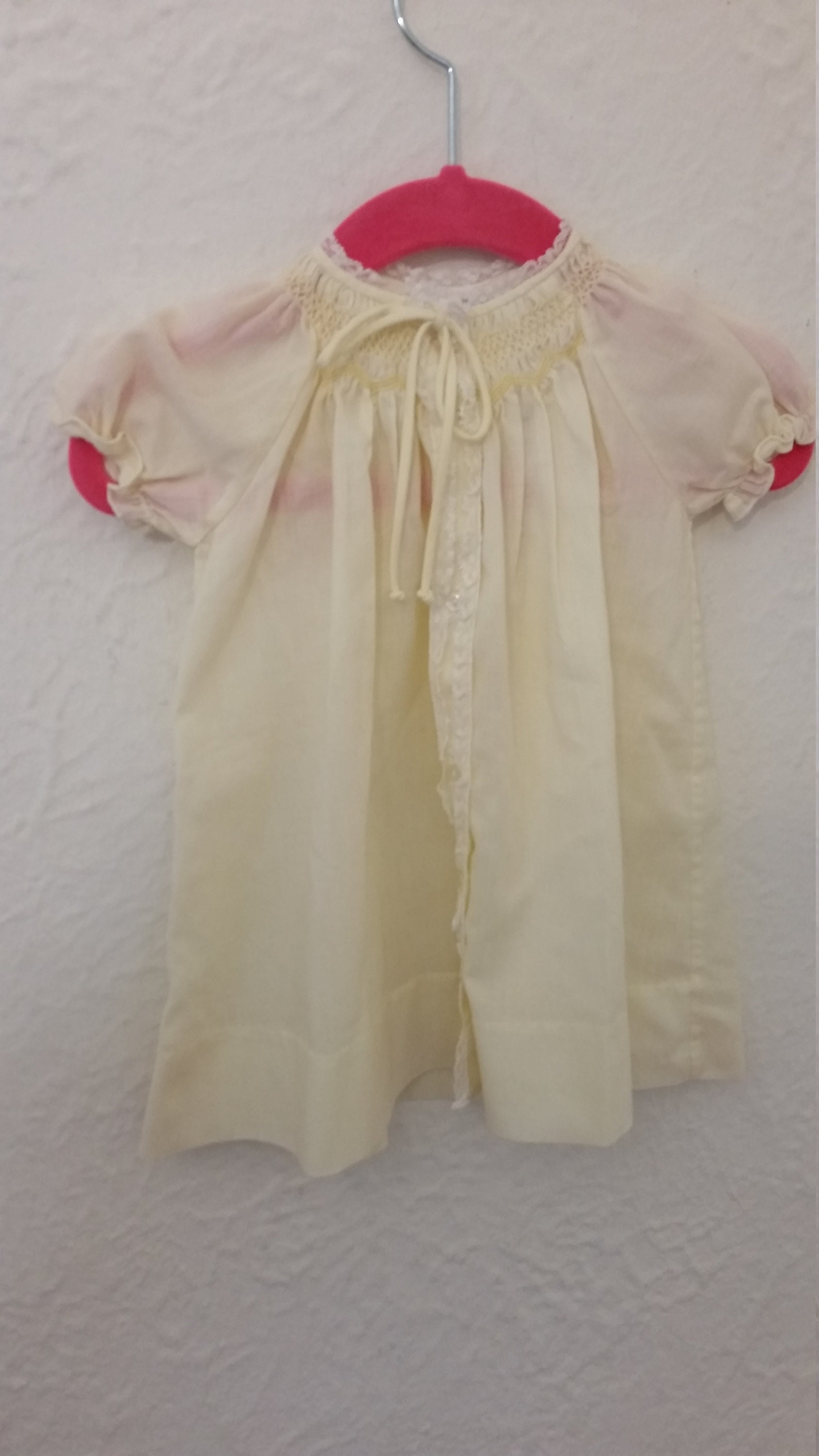 80s Dresses | Casual to Party Dresses Vintage Infant Dress Newborn To 6 Mos PolyCotton Blend Pale Yellow Button From Bodice Hem Cap Sleeves Made By Feltman Philippines 1980S $6.00 AT vintagedancer.com