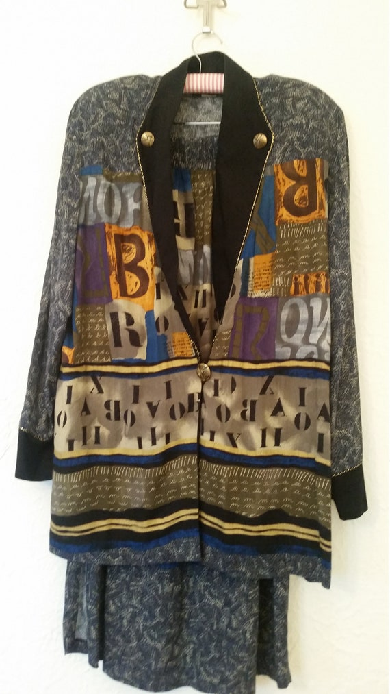 Vtg Suit 2 Pc Skirt Outfit Oversize Blouson Jacket
