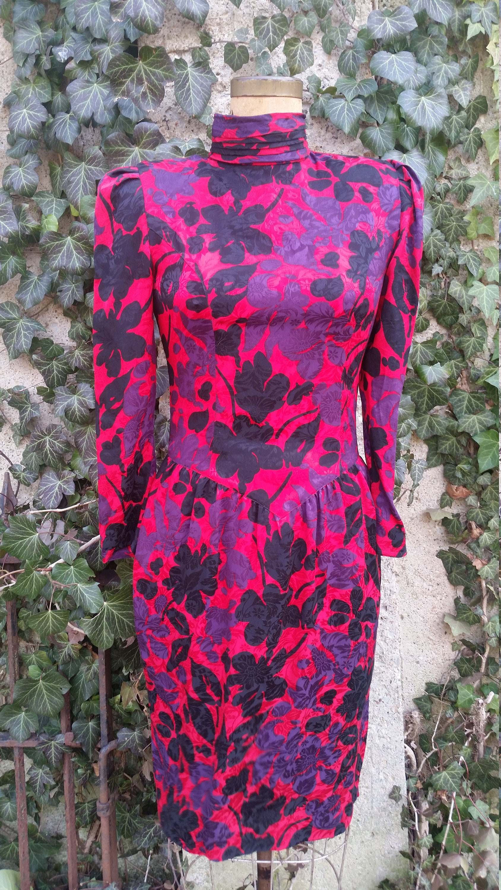 80s Dresses   Casual to Party Dresses Vintage Dress 1980S Silk Foral Cocktail Dramatic Turtleneck Red Black Purple 80S Glam Party Frock Size 6 Made By St. Gillian Petites $6.00 AT vintagedancer.com
