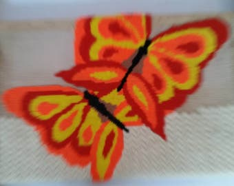 Vintage Needlepoint Butterfly on working Frame 1970's Mod Unfinished work in Progress Bargello Needlepoint Decorative 70s Textile