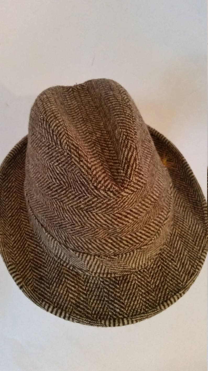 0d72b99a0bb5b Vintage Tweed Hat Men s Herringbone Tweed Wool Fedora