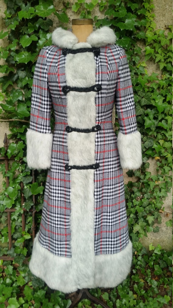 Vintage Coat 1970's Hippie Maxi Wool Coat With Fau
