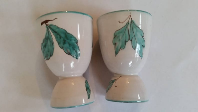 Vintage Egg Cups Rustic Italian Ceramic Egg Holders Pear Design Set of 2 Ceramic Pottery Made In Italy 1980/'s