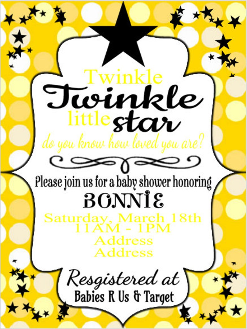 Yellow Baby Shower Packet Twinkle Twinkle Little Star