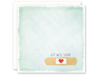 Get Well Card - Bandaid with Heart - Square - Aqua - Get Well Soon