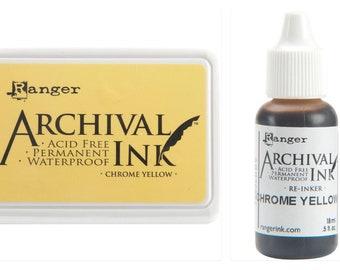 Reinker Bundle Lot Chrome Yellow Archival Ink Pad #0 Ranger
