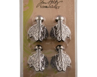 "Idea-Ology Metal Box Feet Foundations 1.5""X2"" 4/Pkg Antique Nickel by Tim Holtz"