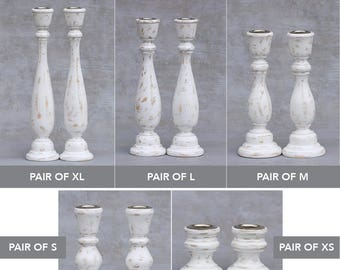 Pair or Set of Two of Larger Size Candlesticks (2) - Any Color Wooden Shabby Chic Distressed Wood Candle Stick Holders
