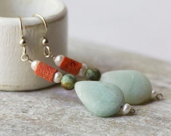 Amazonite African Turquoise Sponge Coral and Freshwater Pearl Earrings with Sterling Silver French Ear Wires