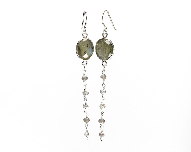 Labraodorite Gemstone Earrings with Sterling Silver Bezels and Ear Wires