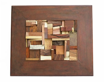 Reclaimed Scrap Wood Art Sculptural Wall Hanging - A Mosaic of Exotic and Local Woods