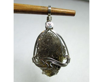 HERKIMER DIAMOND DRUZY Wirewrap Pendant - Agentium Sterling Silver ww989