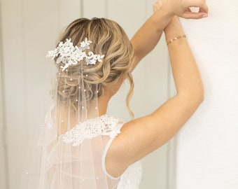 Lace Appliqué Veil with Pearls | Barely There