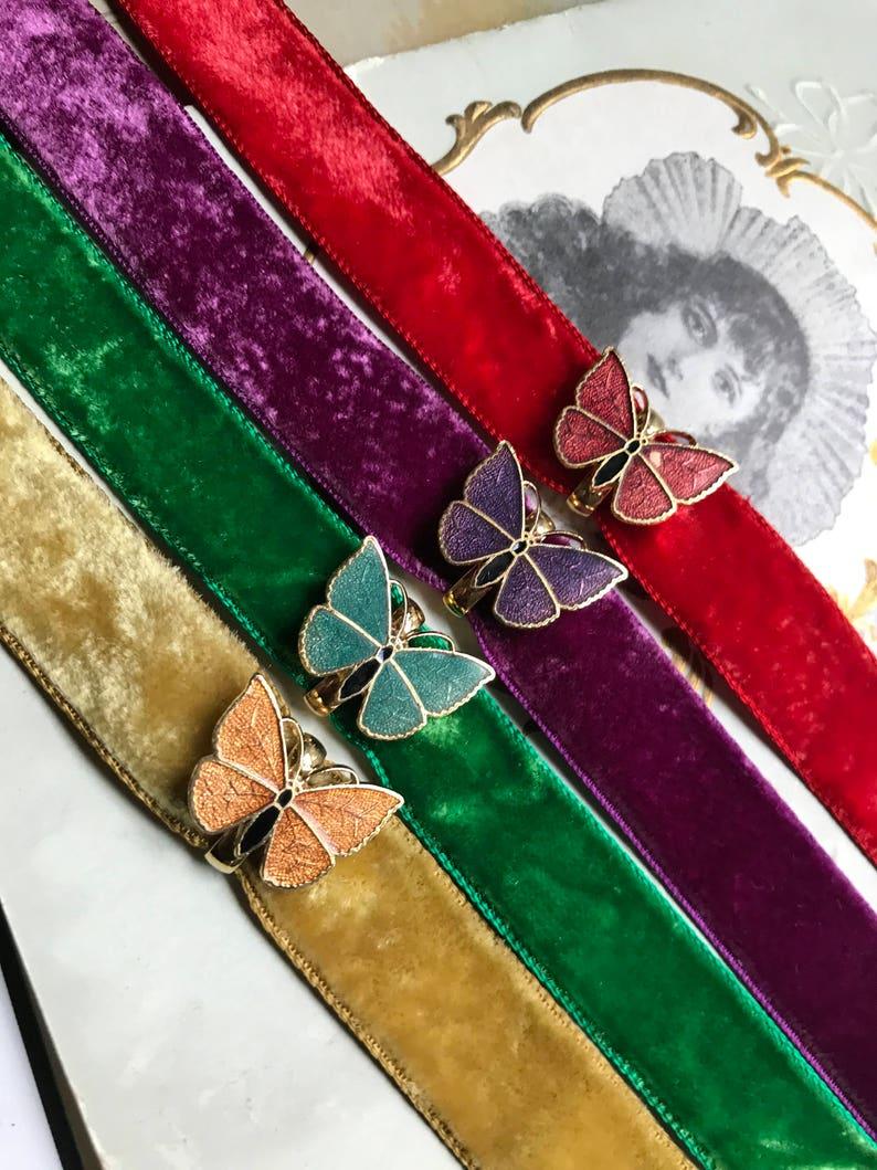 Vintage Velvet Choker Layered Choker Minimalist Choker Victorian Choker Butterfly Choker Guilloche Choker Butterflies Enamel Choker