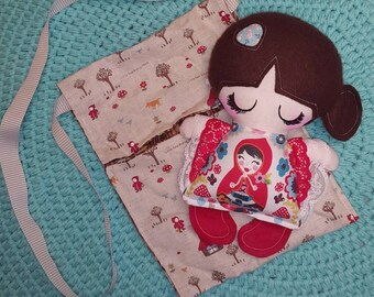 Handmade Little red riding hood doll with bag - Sale