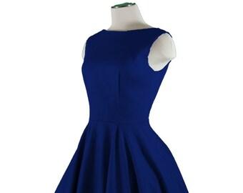 CHLOE Navy Blue Rockabilly Swing Rock 'n Roll Dress//Full Circle Navy Dress//Retro 50s Style Dress//Bridesmaid, Party Dress XXS-3X