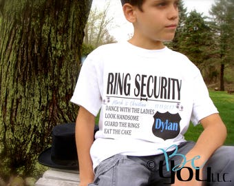 Ring Bearer gift; ring security; ring security shirt; ring bearer shirt; RING SECURITY DUTIES ring bearer; wedding party gift; custom gift