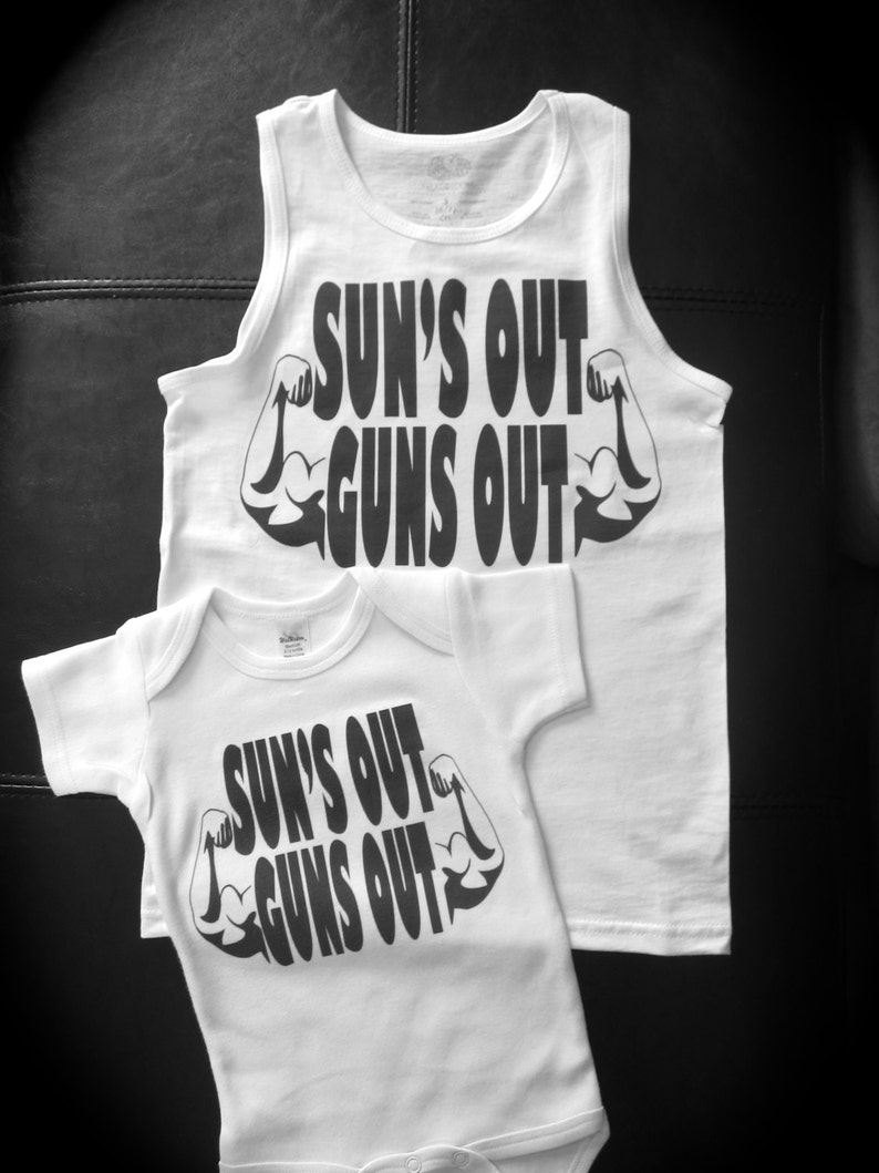 online retailer bc1f3 57330 Sun s Out Guns Out bodysuit tank top or t-shirt novelty   Etsy