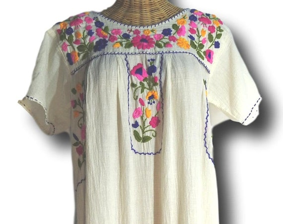White Mexican style dress cotton gauze peasant large floral embroidery patterns embroidered mexican beach wedding dresses themed vacation