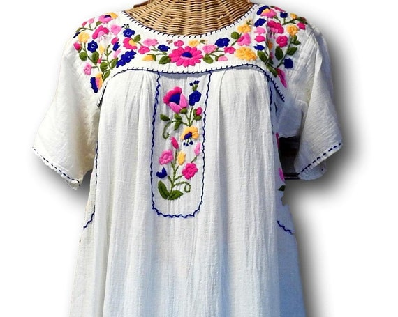White floral Mexican themed dress
